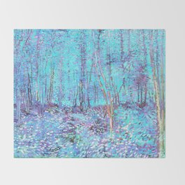 Van Gogh Trees & Underwood Aqua Lavender Throw Blanket