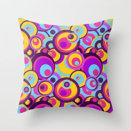 Retro Circles Groovy Colors Throw Pillow