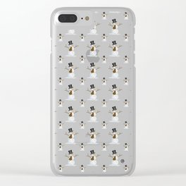 Swirly Snowman Clear iPhone Case