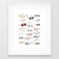 glasses Framed Art Prints featuring glasses by Janaína Esmeraldo