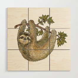 Sloth on a Branch Wood Wall Art