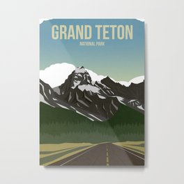 Grand Teton National Park - Travel Poster Metal Print