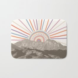 Summerlin Mountain // Abstract Vintage Mountains Summer Sun Vibe Drawing Happy Wall Hanging Bath Mat