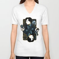 221b V-neck T-shirts featuring The Detective of 221B by WinterArtwork
