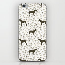 Big Brown Dog and Paw Prints iPhone Skin