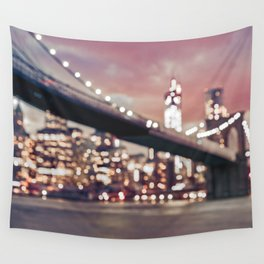 New York City Brooklyn Bridge Lights Wall Tapestry