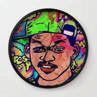 fresh prince Wall Clocks featuring FRESH PRINCE by AZZURRA DESIGNS