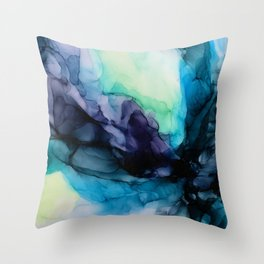 Sweet Pea Pastel Abstract Chaos | Calming Fluid Art Throw Pillow