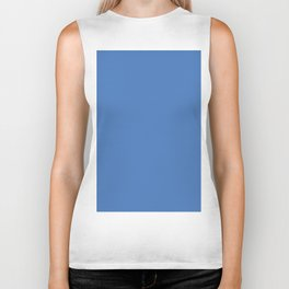 Azure Blue Solid Color Biker Tank