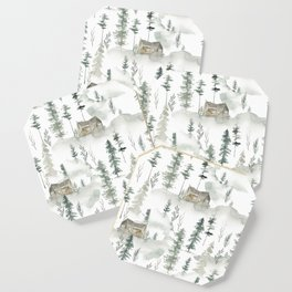 Winter scene houses and trees pattern Coaster