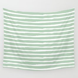 Elegant Stripes Pastel Cactus Green and White Wall Tapestry