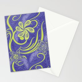 Polynesian Kiwi Lime Tropcal Floral Stationery Cards