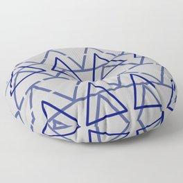 Blue Grey Geometric Pyramid  Floor Pillow