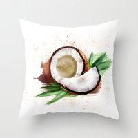 coconut wishes Throw Pillows featuring coconut by Zazie-bulles
