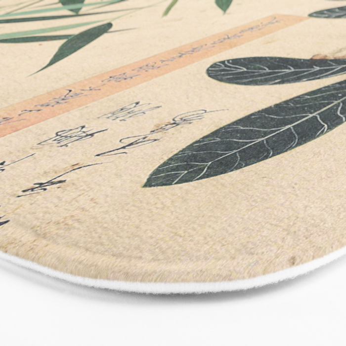 Japanese Botanical Ink and Brush Painting, Hand Drawing Flowers and Calligraphy Bath Mat