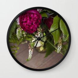 Peonies & Veronicastrum Wall Clock