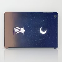 bunny iPad Cases featuring Moon Bunny by Freeminds