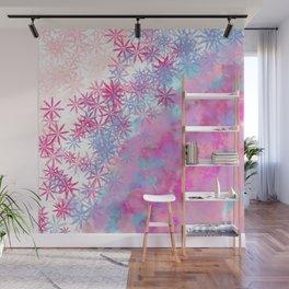 Pink lavender teal aqua watercolor clouds floral Wall Mural