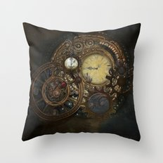 Steampunk Clocks Throw Pillow
