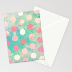 Retro Pink Polka Dots Hipster Turquoise Pattern Stationery Cards
