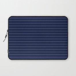 Navy Blue Pinstripes Lines Minimal Laptop Sleeve
