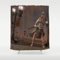 steam punk Shower Curtains featuring Steam Punk - The Crows by J. Ekstrom