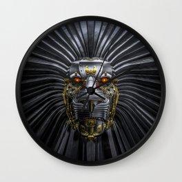 Hear Me Roar / 3D render of serious metallic robot lion Wall Clock