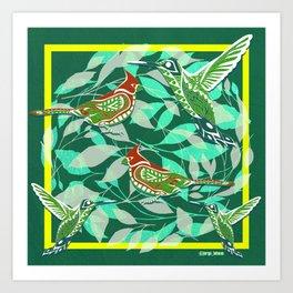 Green Bird lovers ecopop Art Print