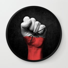 Polish Flag on a Raised Clenched Fist Wall Clock