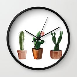 Three Cacti On White Background Wall Clock
