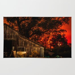 Red sunset in rural California Rug