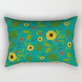 Sunflower & Monstera Leaf Rectangular Pillow