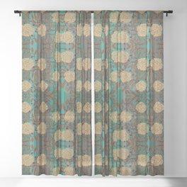 Caramel Roses & Foliage on Stripes By Danae Anastasiou Sheer Curtain
