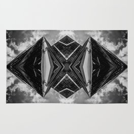 Alien Mothership and Cloudscape in Black and White Rug