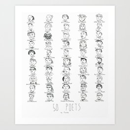 50 Poets Art Print