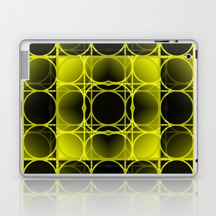 Circles, Grids and Shadows in Black and Yellow Laptop & iPad Skin