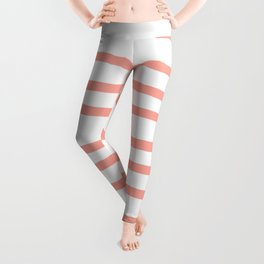 Simply Drawn Stripes Salmon Pink on White Leggings
