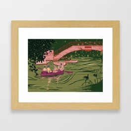Boys on a boat Framed Art Print