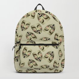 Guy Fawkes Masks on Cream Backpack