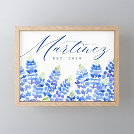 Martinez family sign with Texas bluebonnets (Message me for a different family name and date) Framed Mini Art Print