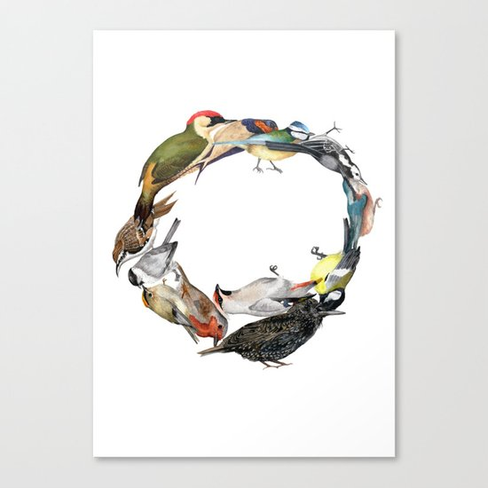 Bird Wreath Canvas Print