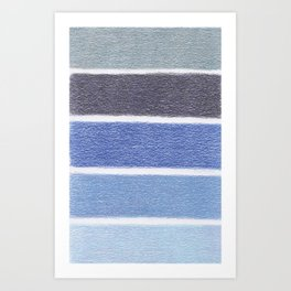 Blues Color Blocks - Color Palette No 1 - Hand Drawn Stripes Art Print