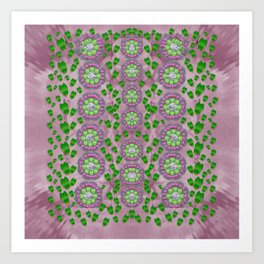 ivy and  holm-oak with fantasy meditative orchid flowers Art Print