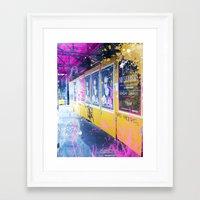 alisa burke Framed Art Prints featuring purple and yellow _  little burke graffiti by Vin Zzep