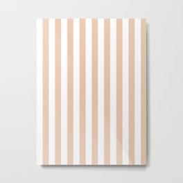 Narrow Vertical Stripes - White and Desert Sand Orange Metal Print