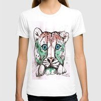 snow leopard T-shirts featuring Snow leopard by Caballos of Colour