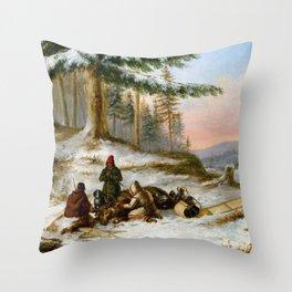 Cornelius Krieghoff Moose Hunters Throw Pillow