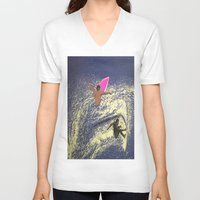 surfing V-neck T-shirts featuring SURFING by aztosaha
