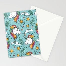 Magical Unicorn Pattern on turquoise background Stationery Cards