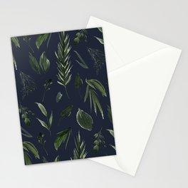 Winter Leaf Pattern 2 (Navy) Stationery Cards